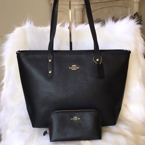 💃Coach Set City Zip Tote and Cosmetics Case